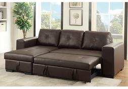 Small Sectional Sofa Reversible Storage Chaise Couch Pull Ou