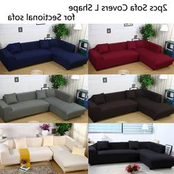 Sofa Covers L Shape 2pcs Polyester Fabric Stretch Slipcovers