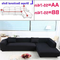 Solid Black Sofa Slipcover Couch Protective Cover For L Shap