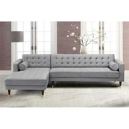 Somerset Grey Velvet Mid Century Modern Right Sectional Sofa