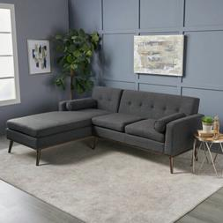 Sophia Mid Century Modern 2 Piece Fabric Sectional Sofa and