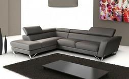 SPARTA ITALIAN GREY LEATHER SECTIONAL BY J&M