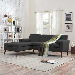 Stormi Mid Century Modern 2-Piece Mut Sectional Sofa and Dar