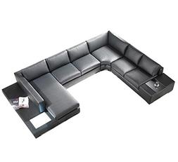 T35 Black Bonded Leather Sectional Sofa with Headrests and L