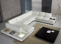 T35 VIG Divani Casa Sectional Sofa with Light in White Leath
