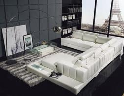 VIG Furniture T63 White Leather Sectional Sofa