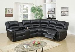 tamanna black bonded leather reclining