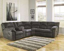Tambo Contemporary Pewter Microfiber Reclining Sectional Sof