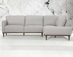 Acme Furniture Tampa Pearl Gray Italian Leather Sectional So