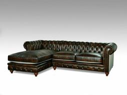 Classic Chesterfield Brown Micro Leather chenille Sectional