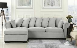 Traditional Fabric Sectional Sofa L Shape Couch, Wide Chaise