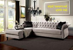 Traditional Formal Tufted Warm Gray Fabric Sectional Sofa Ch