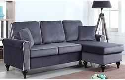 Traditional Small Space Velvet Sectional Sofa With Reversibl