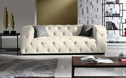 Large Tufted Real Leather Chesterfield Sofa, Classic Living