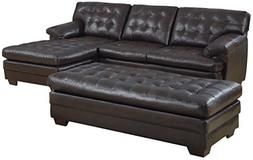 Homelegance 9739 Channel-Tufted 2-Piece Sectional Sofa Set,