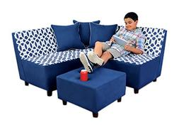 Kangaroo Trading Tween Sectional  Loopy Navy/Pebbles/Navy Ch
