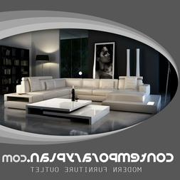 Ultra Modern Leather Sectional Sofa with Built in Lights & H