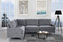"Upholstered 101.5"" inch Linen Sectional Sofa, L-Shape Couch"