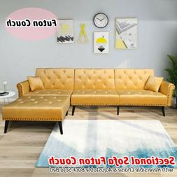 Upholstered Mid Century Sectional Sofa Futon Couch w/ Revers