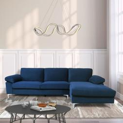 Velvet Fabric Sectional Sofa L-Shape Couch with Extra Wide C