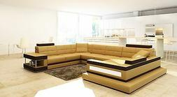 VIG Brown and Camel LEATHER Contemporary Sectional 5079 VIG,