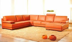 VIG Divani Casa 2227 Orange Leather Sectional Corner Sofa wi
