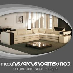 Vista Modern Italian Design Leather Sectional Sofa with Cont