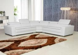 White Contemporary CU-Leather Sectional with Adjustable Head