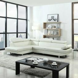 White Faux Leather Sectional Sofa, Foamed Filled, Chrome Leg
