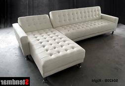 White Genuine leather sectional Sleep sofa King Bed S0402LW