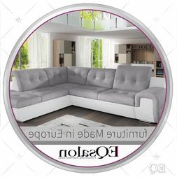 White Gray Sectional Sofa Sleeper With Pull-out Bed and Stor