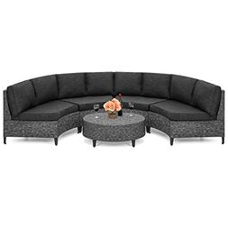 Best Choice Products 5-Piece Wicker Half Circle Sectional So