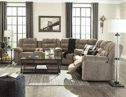 Workhorse Contemporary Cocoa Color Fabric Sectional Reclinin
