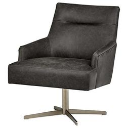 Rivet zane Mid-Century Modern Swivel Top-Grain Leather Chair